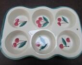 VINTAGE - Cherry Motif Pottery Muffin Pan