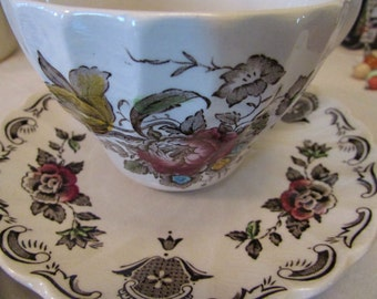 VINTAGE ~ Teacup and Saucer - Myotts Bouquet by Staffordshire - from England