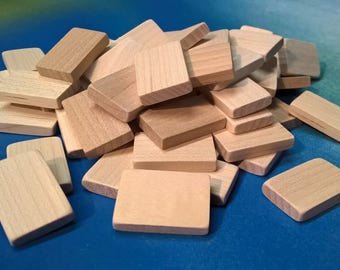 """Wooden Tiles 15/16"""" x 5/8"""" x 3/16"""" (lot of 20) Unmarked"""