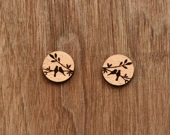 8 pcs Cute Birds Standing on Tree Wood Charm, Carved, Engraved, Earring Supplies, Cabochons (WC 016)