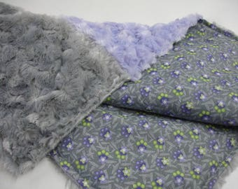 Daisy Chain Purple Gray and Lime Lovey Minky Swirl Blanket 19 x 20 READY TO SHIP On Sale