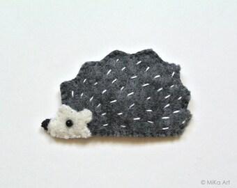 Hedgehog Felt Brooch Woodland Dark Blue Grey Cute Hedgehog Handmade Jewelry Fashion Accessory Gift for Hedgehog Lovers Felt Animal Brooch