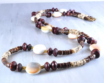 Long shell necklace | Long wood necklace | long necklace
