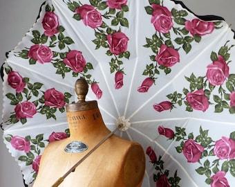 Vintage Floral Umbrella | Romantic Rose Ruffle Black Exterior Wedding Prop Display 1950s 50s Double Umbrella