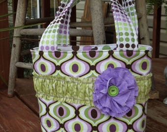 Sample Sale * CUTE LIL' BAGS  for girls  small tote bag in fun purple / green / brown mixed prints *Ready to Ship