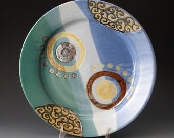 Ceramic Dinner Plate, Stoneware Pottery,  Blue and Green, Plates, Fine Art Ceramics