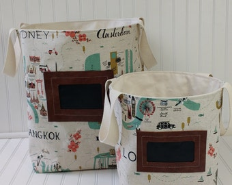 Storage Basket - Storage Bin -Toy Storage - Rifle Paper Co Fabric -Storage - Fabric Storage Bin - Fabric Storage Basket - Canvas Storage Bin
