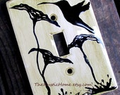 Hummingbird poppy rustic light switch plate cover kiln fired pottery single or double switch made to order kiln fired pottery choose color