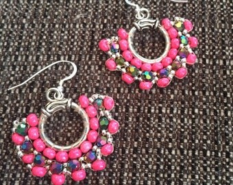 Pink Fan-style Beadweave Earrings