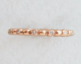 Diamond Bead Ring | 2mm Diamond Eternity Band | Rose Gold Diamond Wedding Ring | Women's Wedding Band | 14k gold and diamond stacking ring