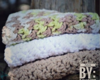 PDF Crochet Pattern - Large Waffle Dishcloth//Facecloth Crochet PATTERN....