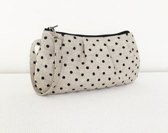 Pleated Wristlet Zipper Pouch // Clutch - Canvas Natural Small Dots in Jet