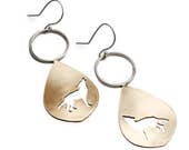 Wolf Silhouette Teardrop Dangle Earrings in Brass and Sterling