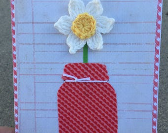 Daffodil Red Mason Jar. Handmade Card. Blank Card. Mother's Day. Birthday. Thinking of You.