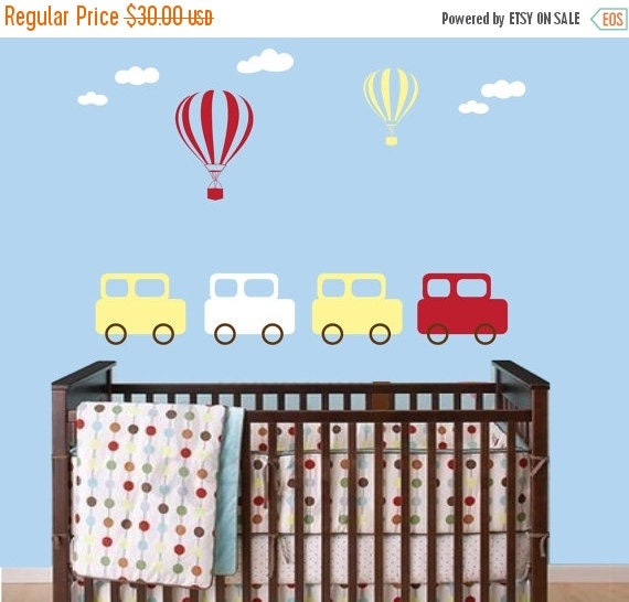 ON SALE Childrens Vintage Retro Car Wall Decal with Hot Air Balloons and Clouds - Boy Bedroom Nursery Vinyl Wall Sticker Decor - CB136