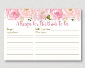 Soft Pink Floral Bridal Shower Recipe Cards / Floral Bridal Shower / Watercolor Floral / Printable Recipe Card / INSTANT DOWNLOAD B108