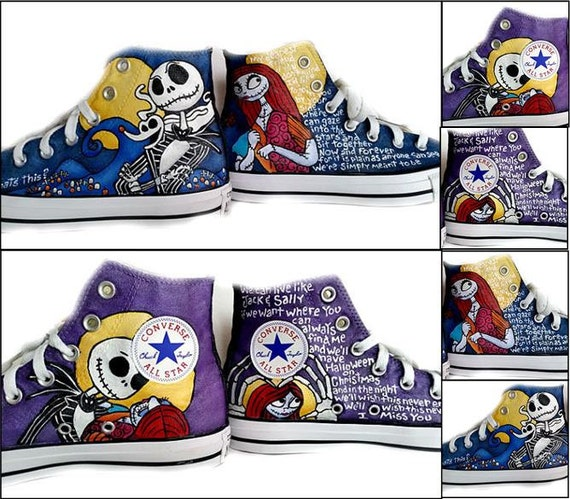 85%OFF Jack Skellington Converse Sneakers Converse Hi Tops Tim ... 7d7d9d0ec