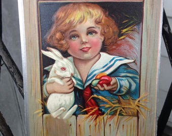 Vintage Easter Series No. 1 Postcard Child with White Albino Bunny