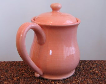 Lidded Pottery Coffee Mug - Large Pink Stoneware Ceramic Cup 14 oz. Pot Belly Mug, Covered Mug for Steeping Tea