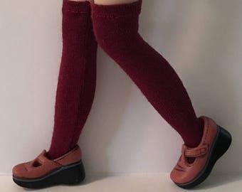 Tall Burgandy Socks For Blythe...