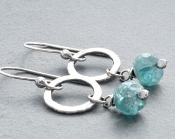 Blue Green Apatite Gemstone Earrings, Aqua Blue Apatite, Faceted Apatite, Circle Dangle Earrings, Sterling Silver, #4671a