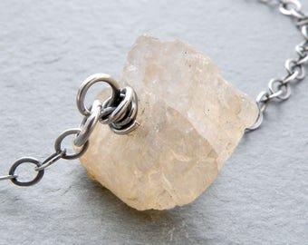 Raw Morganite Gemstone Necklace, Minimal Morganite Necklace, Pink Beryl, Single Gemstone, Morganite Jewelry, Sterling Silver, #4783