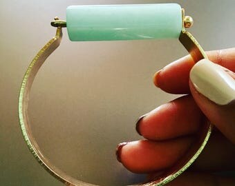Spring refreshMINT Amazonite brass cuff bracelet bangle brushed brass latch small medium size