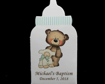 Baptism Favor Boxes - Christening Favor Boxes - Personalized - Baby Bottle - Shaped Favor Boxes - BabyBear and Lamb - Green
