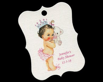 Baby Shower Favor Tags - Baby Girl - Personalized Tags - Princess - Bear - Cookie Tags - Candy Tags - Thank You Tags - Pink
