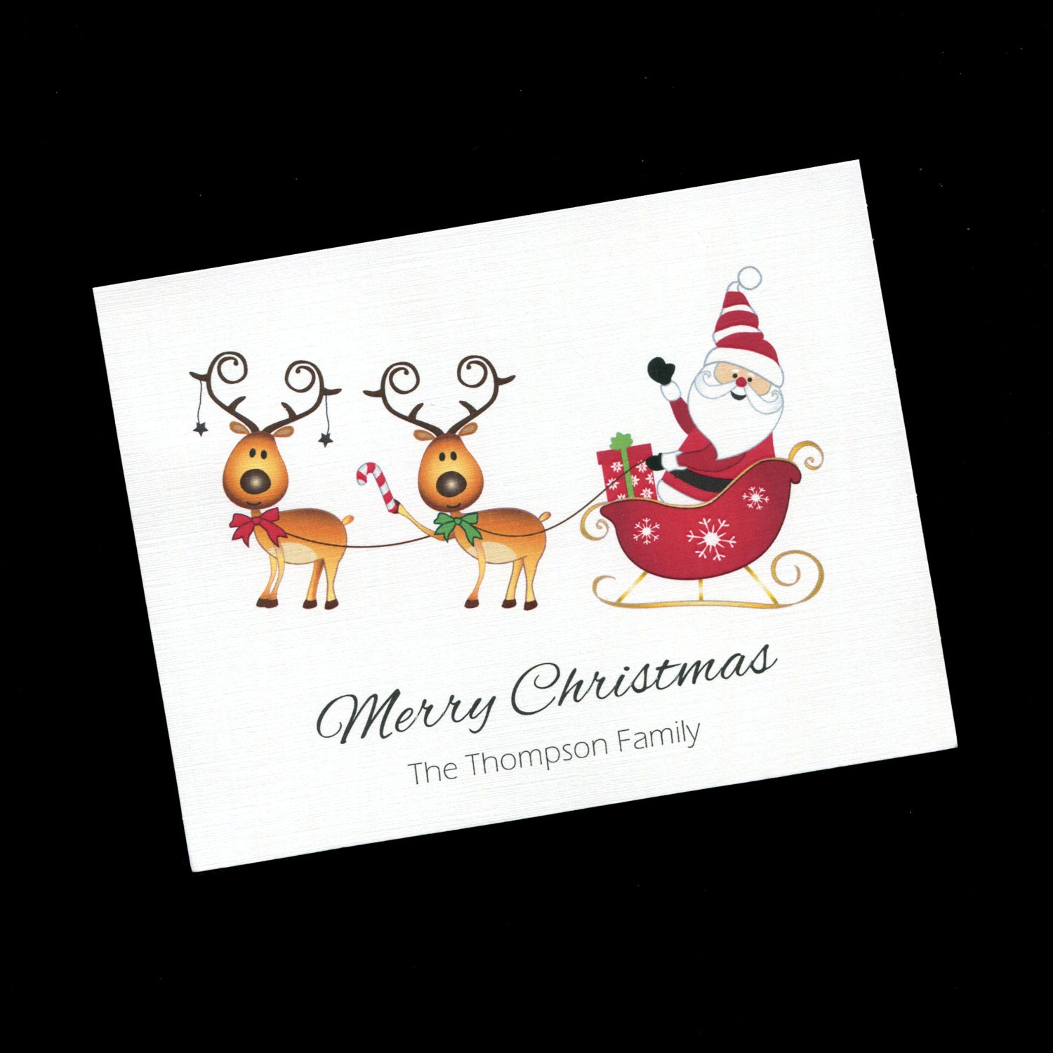 Personalized Christmas Card Santa With Reindeer Blank