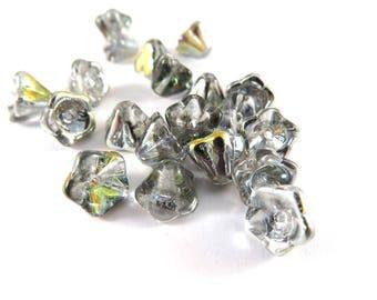 20 Czech Glass Vitrail Bell Flower Beads Light Gray Smoke 8x5mm - 20 pc - 6529