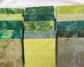 15 new green batik fat quarters - clearance