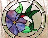 Stained Glass Round Panel - Ruby Throat Hummingbird with Blue Purple Flower & Beveled Border - 12 1/4""