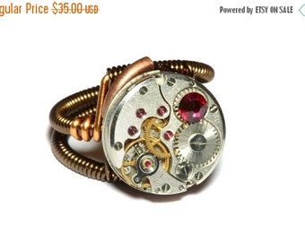 CYBER WEEK SALE - Steampunk Jewelry -  Watch Movement Steampunk Ring with ruby red crystal by Catherinette Rings