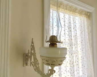 Cast Iron Swing Arm Wall Sconce - French Country - with Milk Glass Oil Lamp