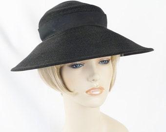 Vintage 1930s Hat Black Straw Wide Brim by Betmar Woodward and Lothrop Sz 21