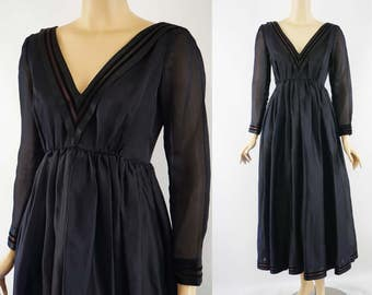 Vintage 1960s Party Formal Evening Gown Black Organza by Teal Traina B36