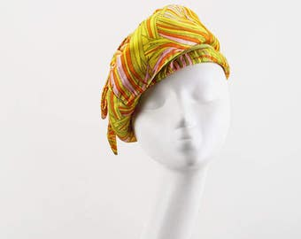 Vintage 1960s Hat Neon Yellow Bubble Crown Banded Beret by Marche Sz 21.5