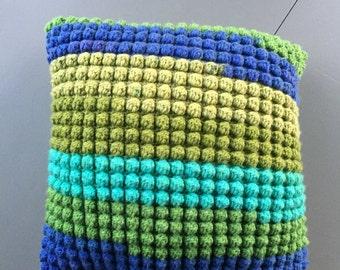 Bobble pillow teal green stripe cover