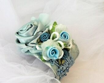 Rose Flower Lace Cuff Bracelet,Victorian Cuff Bracelet, Bridal Bracelet, Statement Bracelet, Blue Lace Cuff, Wedding Jewelry,Bridal Cuff,