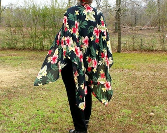 Ruana, Shawl, Wrap or Beach Coverup with Showy Hibiscus Flowers on Black Background--Sheer and Lightweight-One Size Fits Most