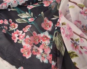 4528 - Floral Blossom Chiffon Fabric - 57 Inch (Width) x 1 Yard (Length)