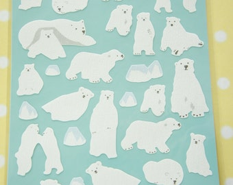 SALE 1 Sheet  / Washi Stickers / Polar Bears (((LAST)))
