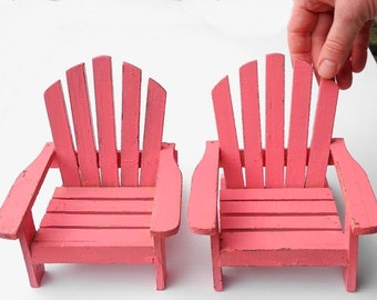 Vintage Adirondack Chairs for Barbie Garden, Large Fairy Garden, One Six Scale, Handpainted, Handmade, Pretty Coral, Painted Wood, Unusual