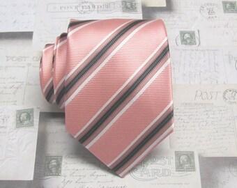 Mens Tie. Pink Black Stripes Mens Necktie With Matching Pocket Square Option