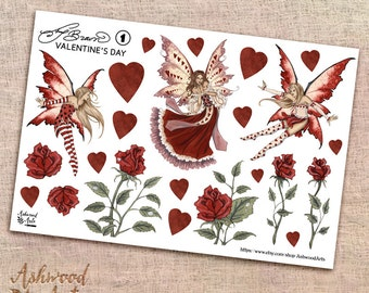 Amy Brown Valentine's Day Fairy Planner Stickers