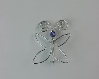 Butterfly Brooch with Purple Glass Beads