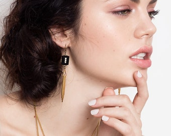 Art Deco Inspired Black and Gold Earrings - Golden Drops - Statement Earrings - Marion II Earrings (SD793)