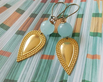 Seafoam Earrings with Brass Fan Earrings - Turquoise Earrings Golden Drops - Vintage Jewellery - Horizon Earrings (SD1271)