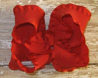 Medium 4 inch Satin Double Ruffle Hair Bow in Red